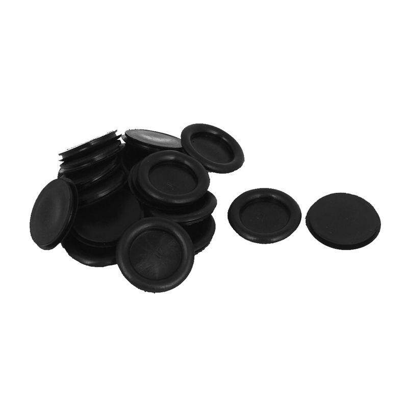 20pcs Black Rubber Closed Blind Blanking Hole Wire Cable Grommets 40mm