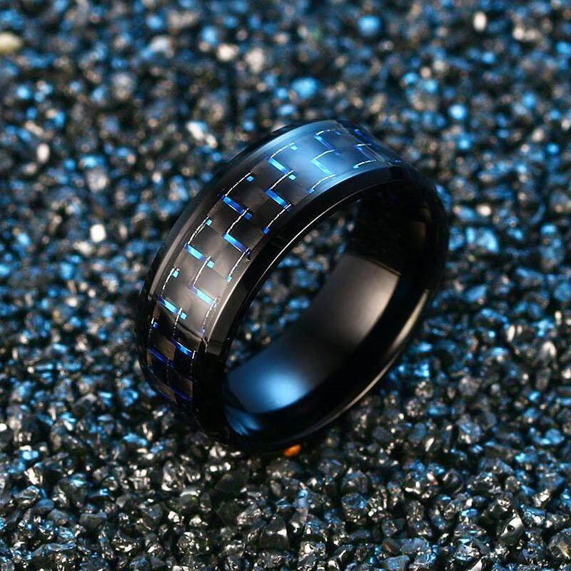 Versi Jepang dan Korea serat karbon Pria Cincin kepribadian warna biru minimalis baja titanium cincin cincin jari telunjuk cincin kelingking Bisa ukir nama dapat terukir