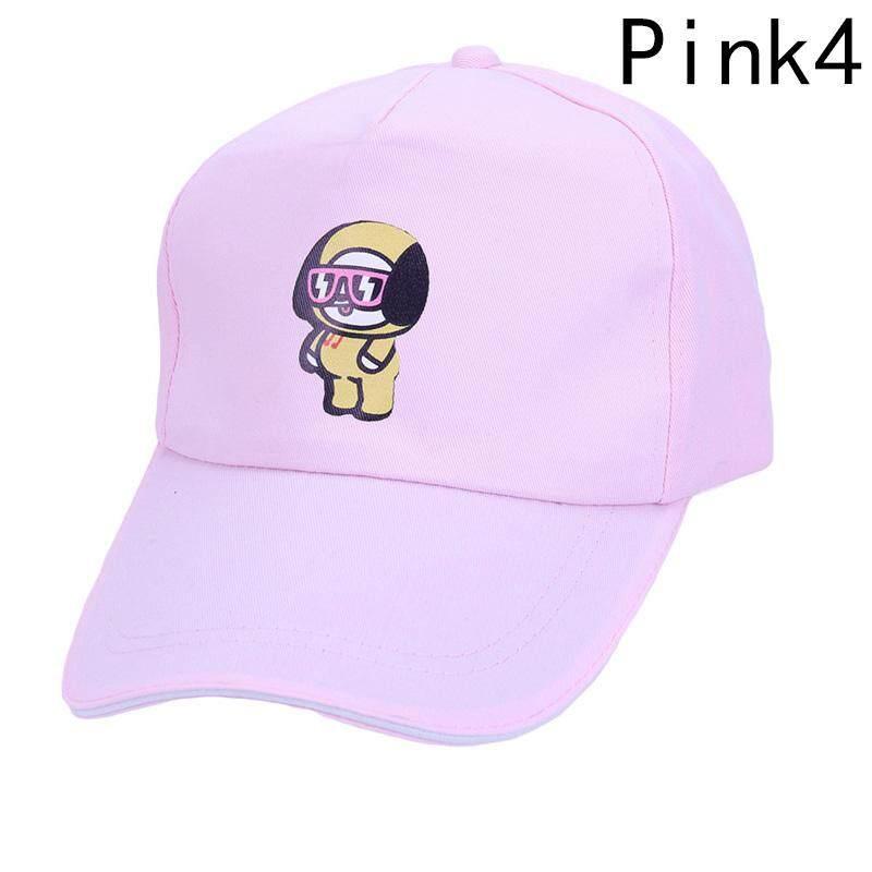 Kuhong Kpop Kartun BTS Topi Proteksi Matahari Musim Panas Topi Basebal Topi H04-Intl