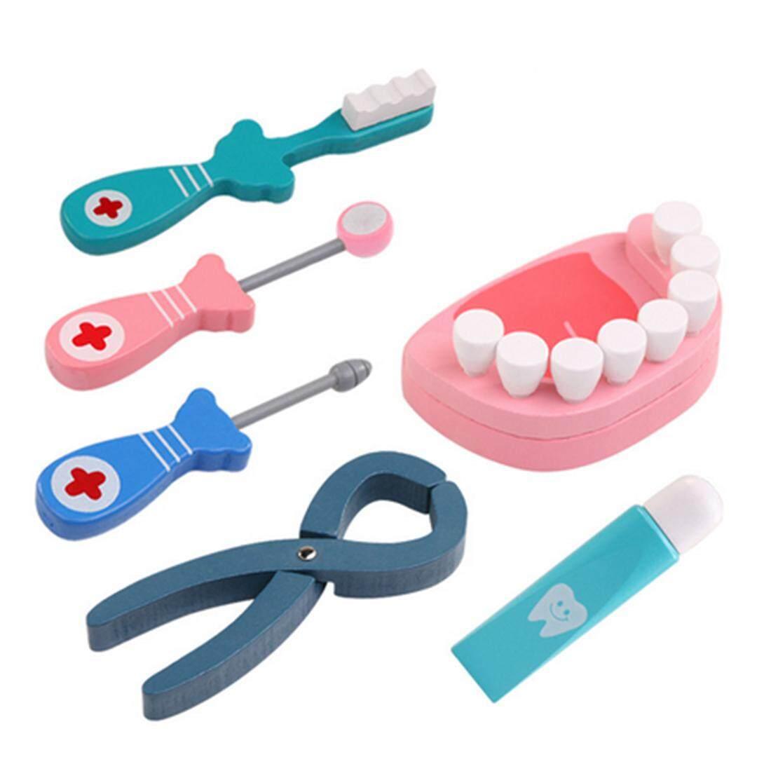 Hình ảnh 360DSC 6Pcs Wooden Dentist Playset Role Play Kit Kids Pretend & Play Emulational Dental Tool Set Toy - intl