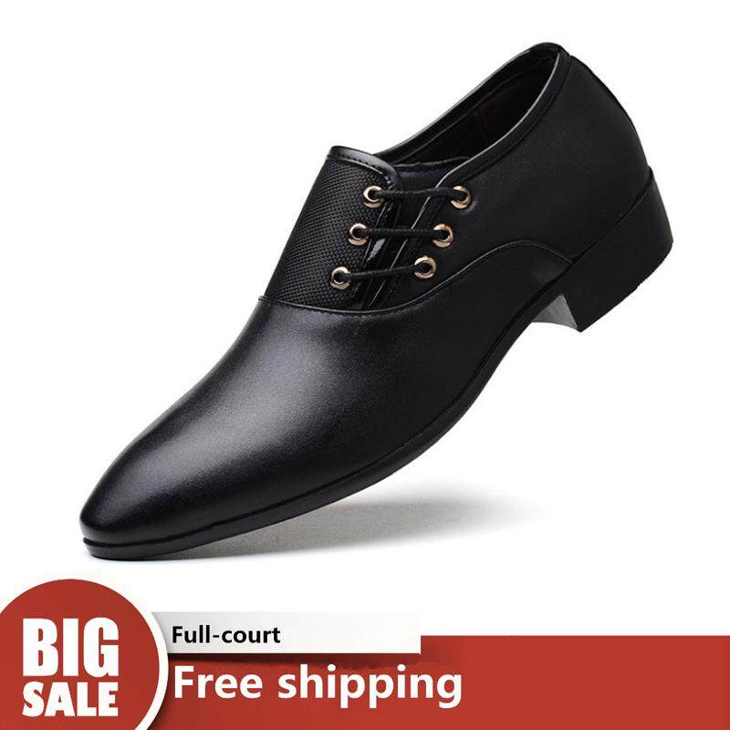 a27b21046 WJKFGI Men's leather shoes new business dress shoes large size casual men's  shoes