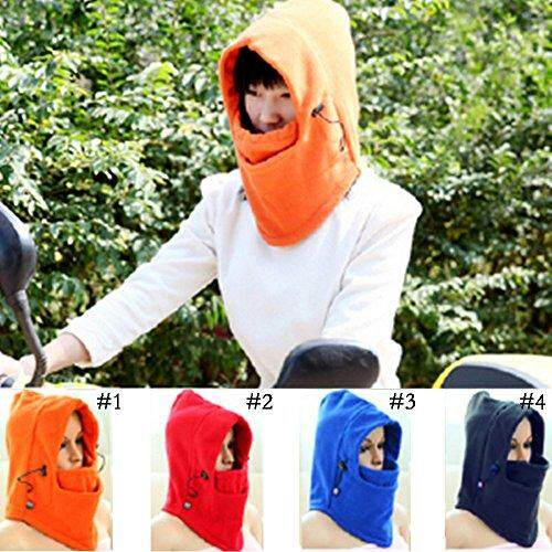 6 in1 Warm Face Cover Winter Ski Mask Beanie Police Swat CS Anti-terrorism Mask Neck Warmers Helmet parts 14.3`x12.7` Orange