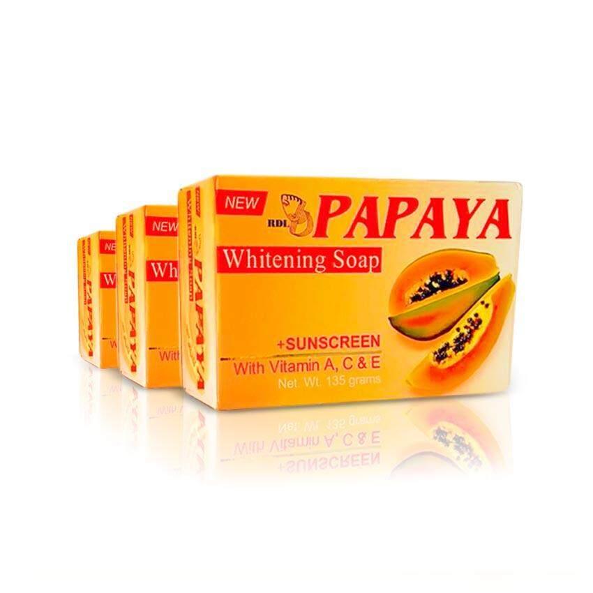 3 ea RDL Papaya Whitening Soap + Sunscreen 135gm