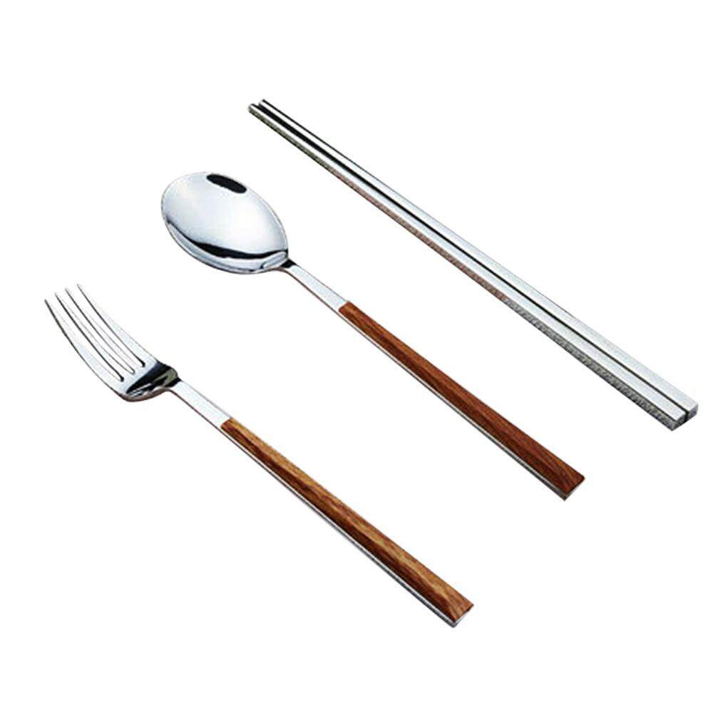 Goodgreat Reusable Flatware Set, 3 Pcs Stainless Steel Ceramics (fork, Spoon, Chopsticks) Portable Travel Flatware Set For Students And Adult. By Good&great.