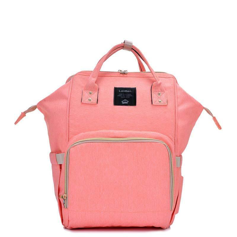 LanBen Multifunctional Waterproof Mom Backpack for Travel Papaya Pink Bag (27 x 21 x 42 cm)