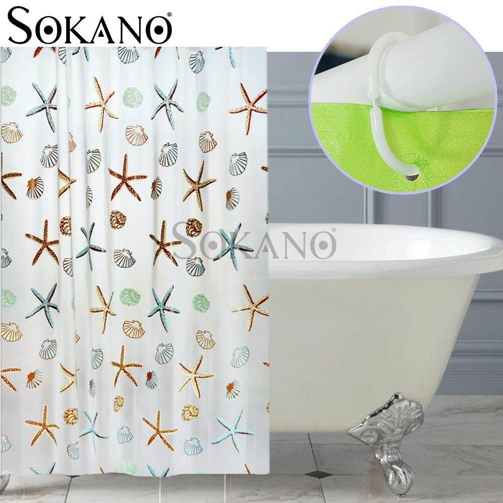 (RAYA 2019) SOKANO CT021 Stylish Living Elegant 100% PEVA Bathroom Shower Curtain (180x200cm) - Sea star