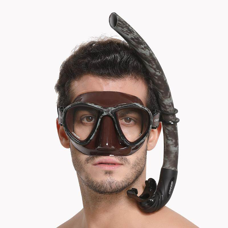 bfff8c9d40d5 Cressi HUNTER Camouflage Diving Mask Snorkel Set Scuba Diving Mask  Snorkeling Mask Flexible Breathing Tube Set