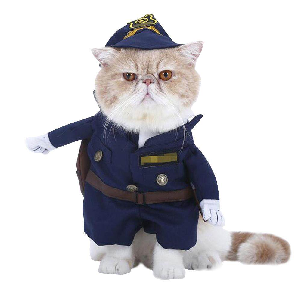 Dog Clothes Police For Pets Cat Costume Outfit Shawl Fancy Dress Apparel Cotton