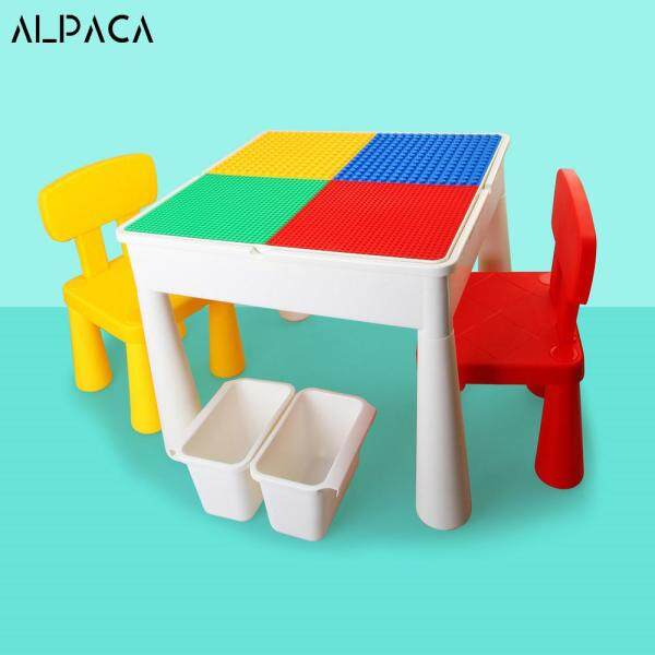 Multi-Functional Blocks Learning Building Assembled Table Desk And Chair With Storage Box Panel And EVA Bath Mat With 4 Style For Kids Suit For Playing Building Blocks Bricks Toys Made With PP Plastic Stable Educational Enlighten High Quality
