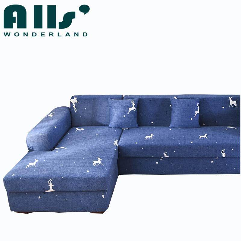 (2+2 Seater)Universal Stretch Sofa Cover for L Shaped Sofa Elastic Sofa Cover for Assemble Sofa Spandex Protector Slipcover(AGGM)