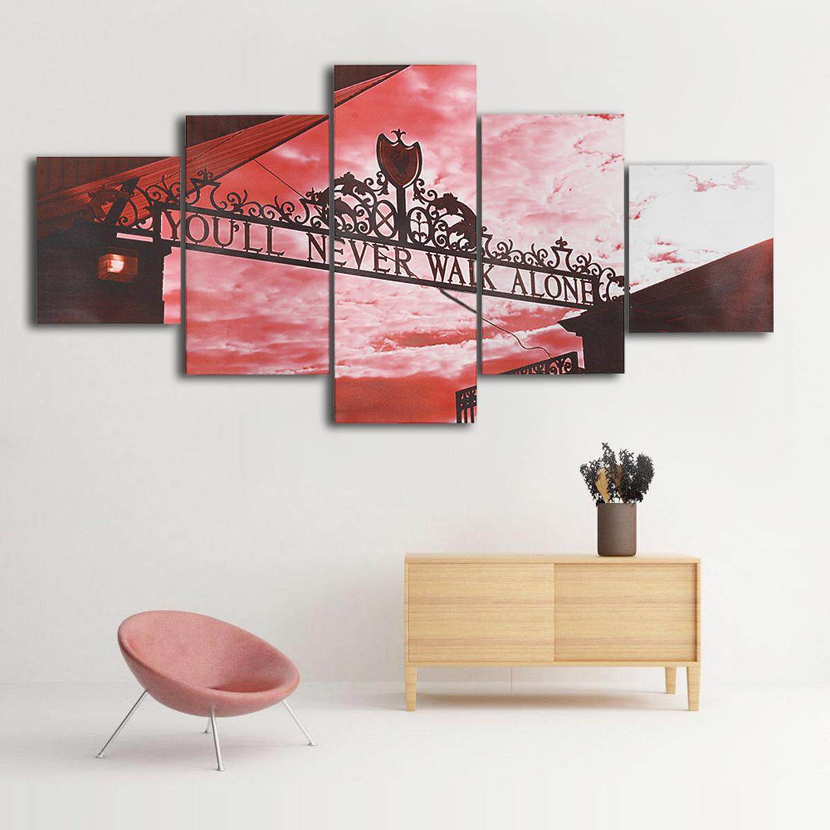 Youll Never Walk Alone Liverpool Red 5 Panel Canvas Print Wall Art