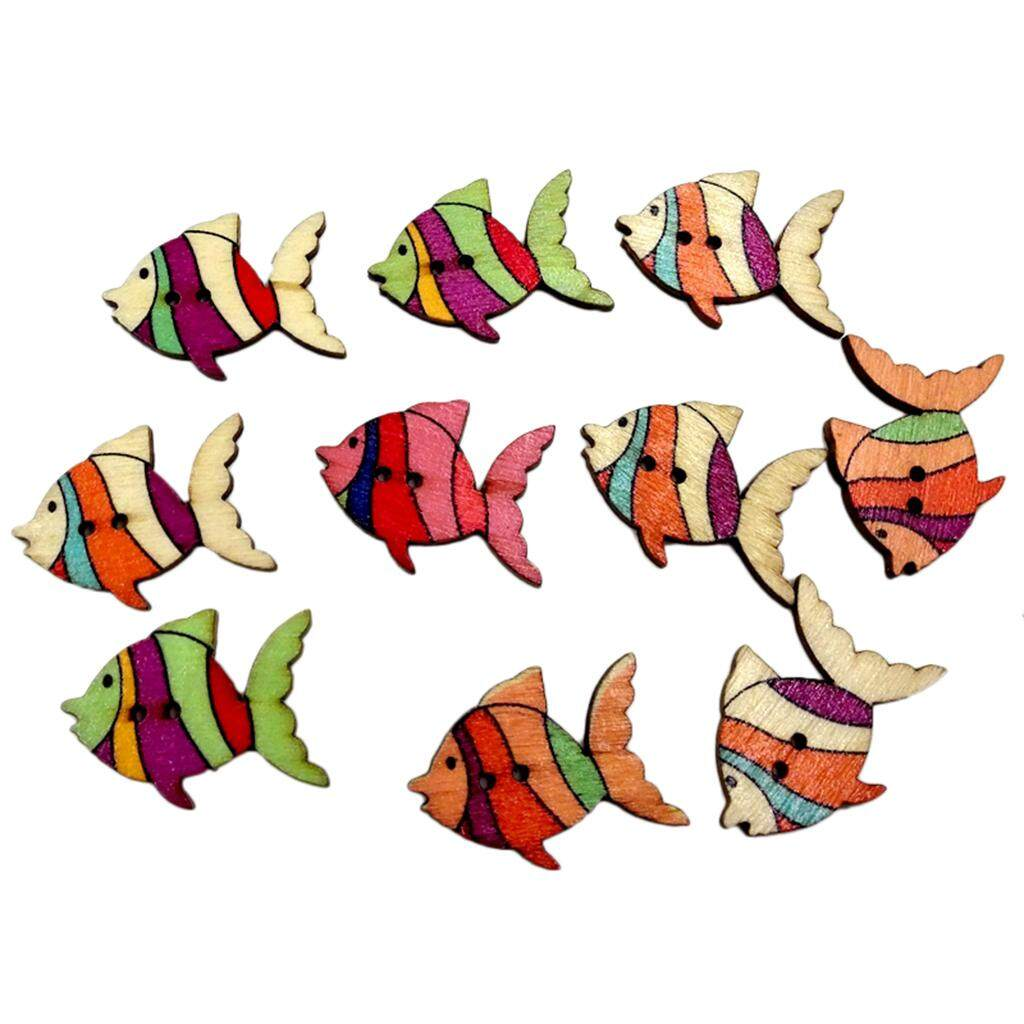 Magideal 50pcs Colorful Fish Wooden Buttons Embellishment Scrapbooking Craft Diy By Magideal.