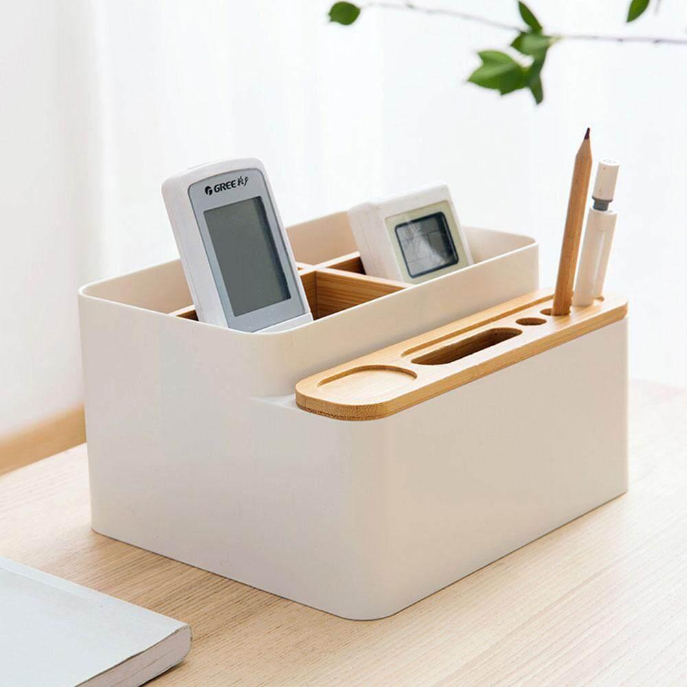niceEshop Wooden Desk Organizer, DIY Multi-purpose Desk Storage Box, Pen Stationery Cosmetic Remoter Desktop Organizer for Restaurant, Study, Table, Bedroom, Office