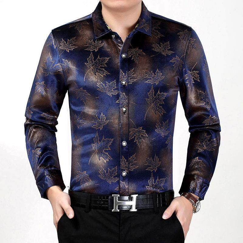 403e75b6cce Chfeirno Store Men Fashion Long Sleeve Gold Velvet Lapel Slim Floral  Business Shirt