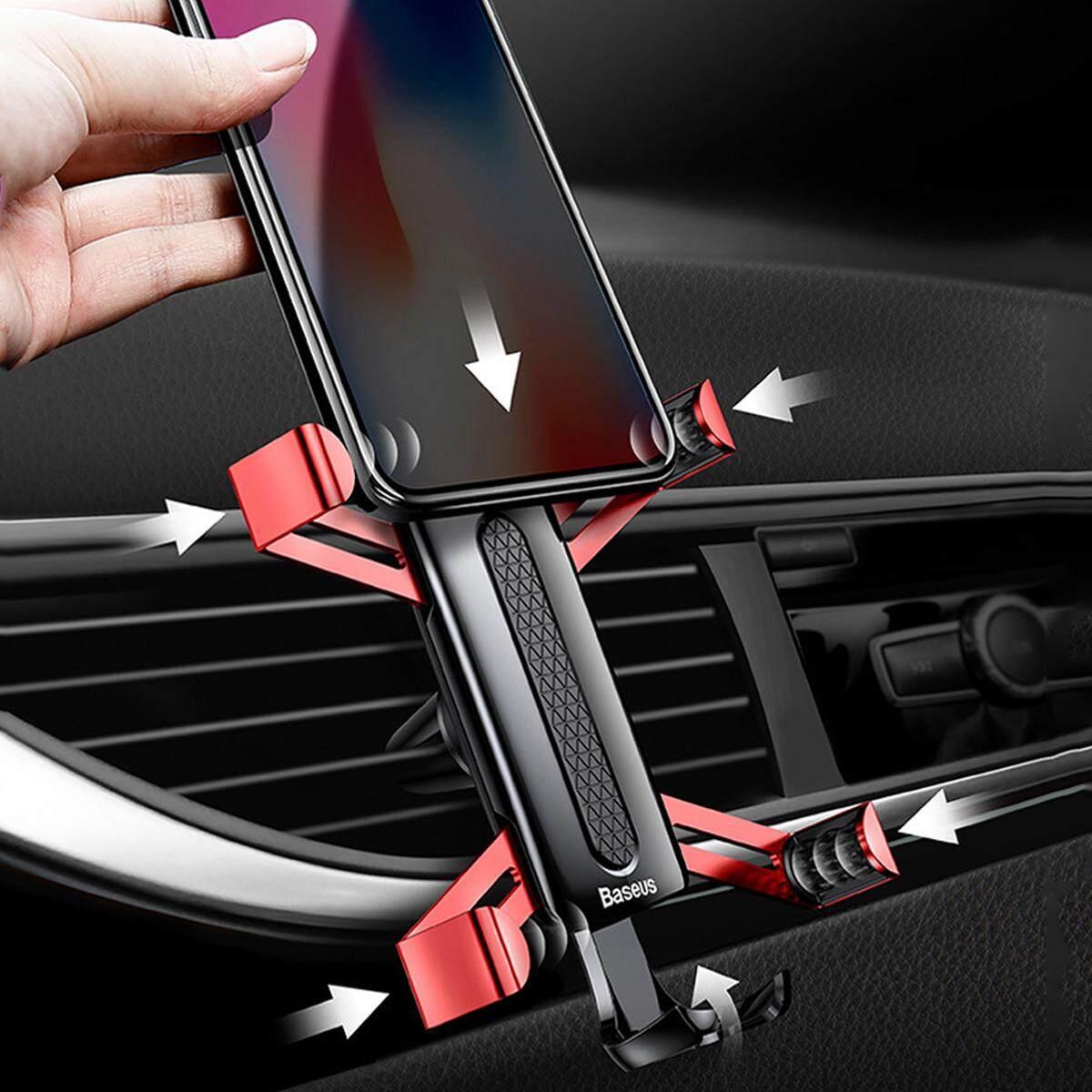 2 Pcs Mobil Penyangga Tepi Ponsel Gravitasi Aluminium untuk iPhone X/untuk Samsung Galaxy S9 Merah-Intl