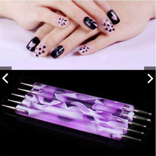 2 WAY NAIL ART DOTTING PAINTING PEN MANICURE TOOLS (5PCS)