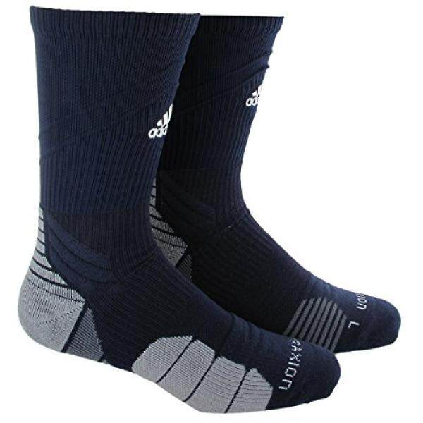 adidas Traxion Menace Football/Baseball Crew Socks, Collegiate Navy/White/Light Onix/Onix, - intl