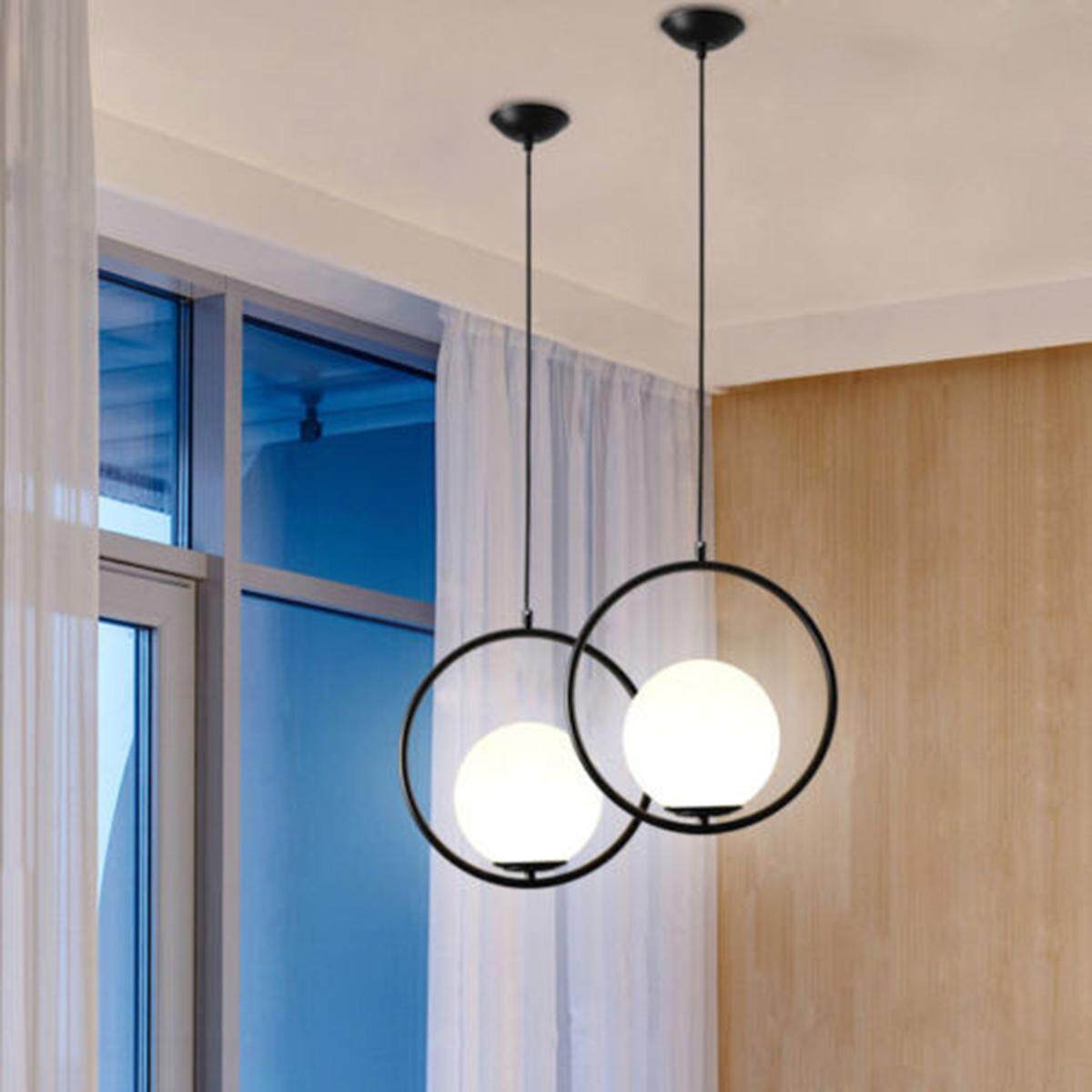 Modern Globe Ceiling Pendant Light Lamp Glass Shade Metal Ring Home Bar Decor Singapore