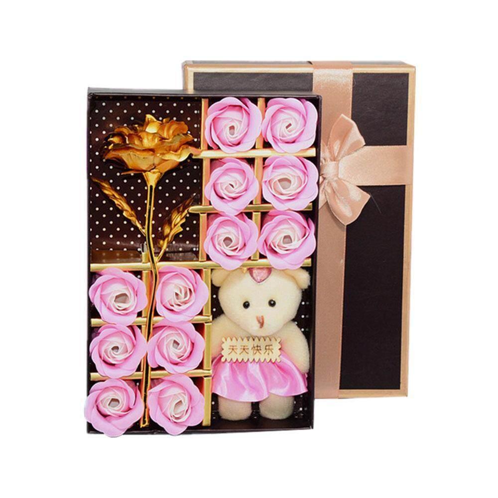 Opoopv Romantis Sabun Bunga Mawar Set dengan Sedikit Boneka Beruang Lucu untuk Hari Kasih Sayang Hadiah