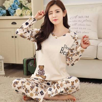 e66574e1d3 Pajamas women Long Sleeve Pure Cotton Spring And Autumn Cotton Homewear Set  Cute Cartoon Korean Style