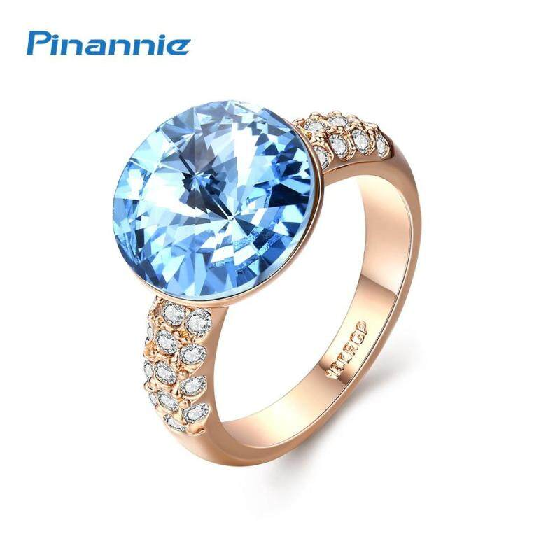 Pinannie Gold Plated Crystal Jewellery Sapphire Rings for Women