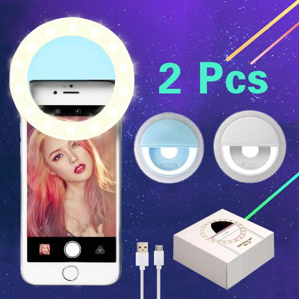(2 Pcs) Fashion Rechargeable Selfie Ring Fill light RK-14 Clip adjustable LED