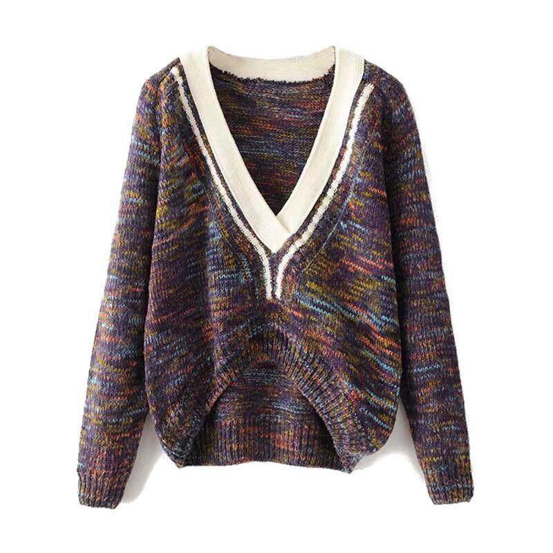 Wanita Musim Semi Musim Gugur Mode Terkini Pullover Sweater Longgar Sweter  Rajut Wanita Kasual Deep V cea49d59b4