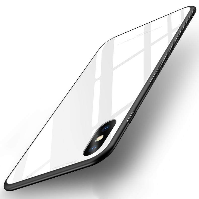 Untuk iPhone XS Wadah Kaca Antigores TPU Cermin Hibrida Tahan Guncangan Seluruh Badan Penutup Pelindung