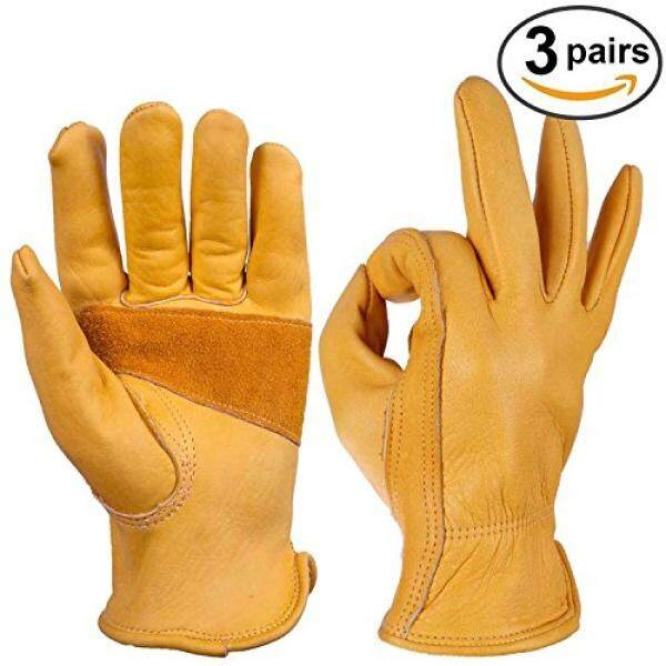 OZERO OZERO 3 Pair Flex Grip Leather Working Gloves Stretchable Tough Cowhide Work Glove - intl