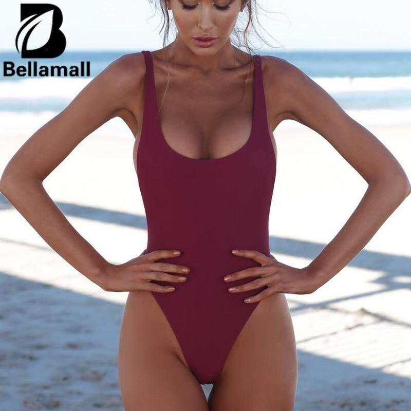 Hình ảnh Bellamall 3 Colors Women'S Sexy Pure Color Swimwear Siamese Bikini Outdoor