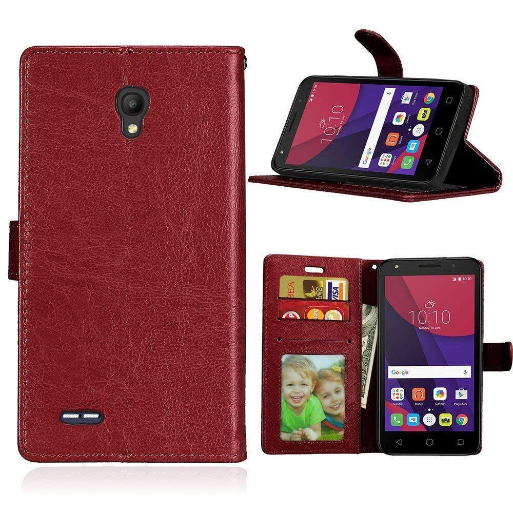 Untuk Alcatel Go Play (5.0) Case [Coklat] [PU Kulit] dan [TPU] Dompet, slot Kartu, Berdiri, Bingkai Foto Casing untuk Alcatel Pergi Bermain (5.0)