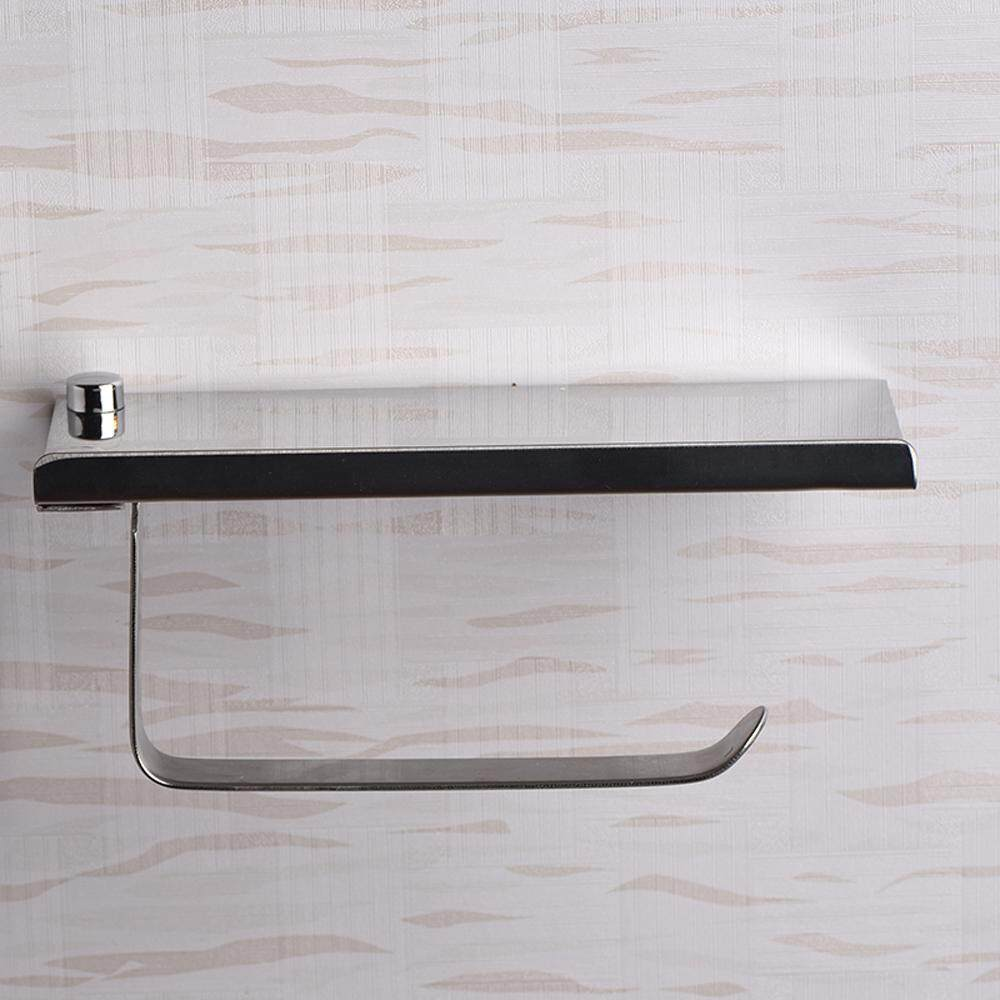 Stainless Steel Wall Mount Mobile Phone Paper Towel Rack Simple Toilet Tissue Box Bathroom Paper Holder
