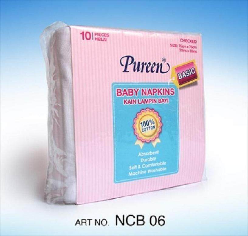 Pureen Basic Baby Napkins / Kain Lampin Bayi 10pcs (76cm x 76cm) 100% Cotton