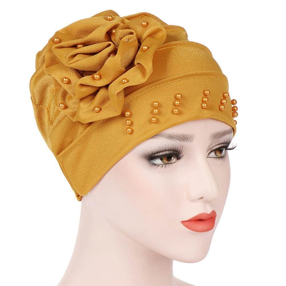 Fashiondoor ผู้หญิง Beading อินเดียหมวกมุสลิม Ruffle มะเร็งหมวกคีโมผ้าพันคอ Turban Wrap Cap By Fashiondoor.