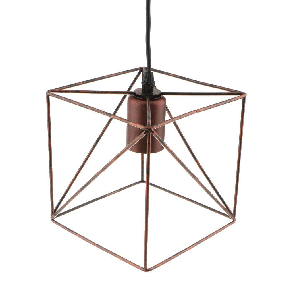 BolehDeals Cube Ceiling Light Cage Cover Bulb Cage Pendant Light Shade Vintage Lampshade