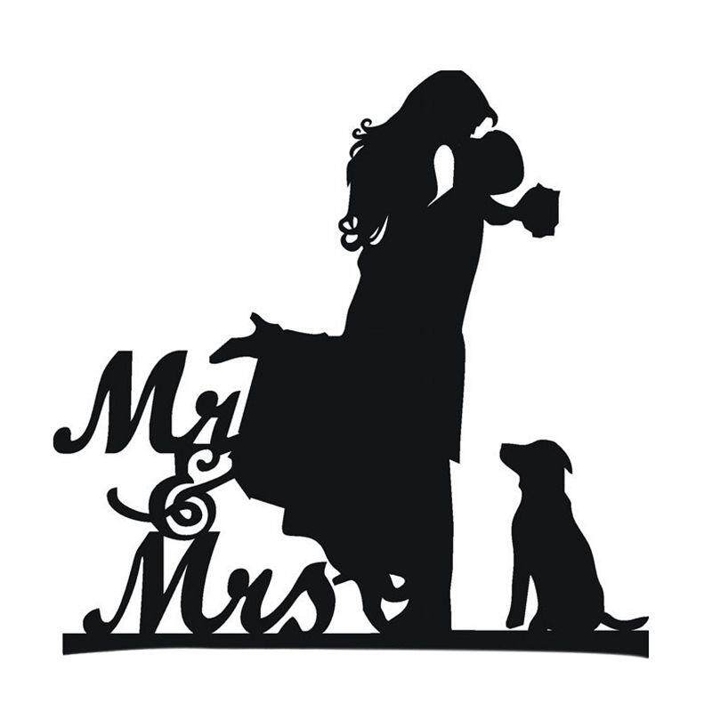 Cake Topper With Dog Pet ,mr & Mrs Bride And Groom Silhouette Funny Wedding Cake Topper By Fastour.