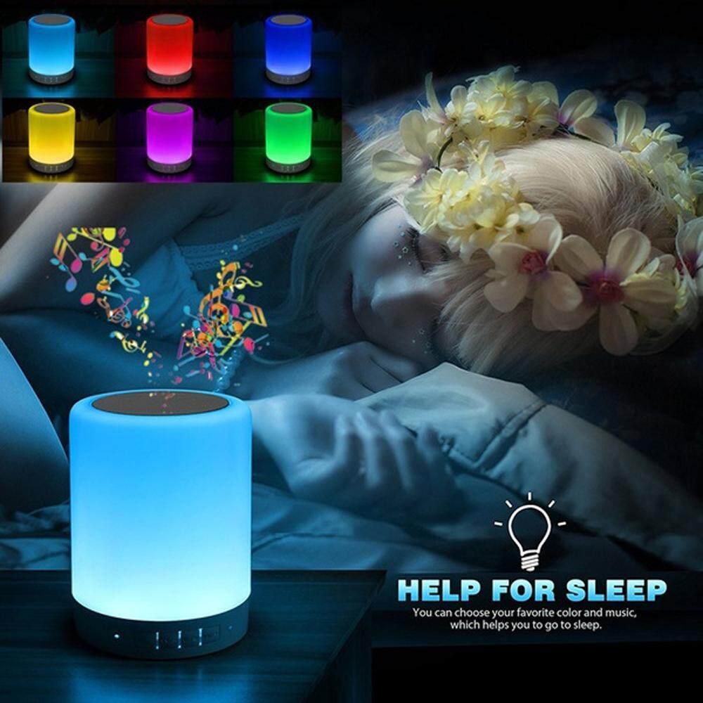 Smalody Portable Speaker with Wireless Bluetooth Alarm Clock Night Light Mini Room Decorations Best Gifts LED Lamp Soundbar Colorful Loudspeaker