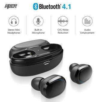 Harga preferensial Ajkoy T12 Headphone Bluetooth Olahraga Bisnis Built-In Mikrofon Sweatproof Stereo Kembar Headset
