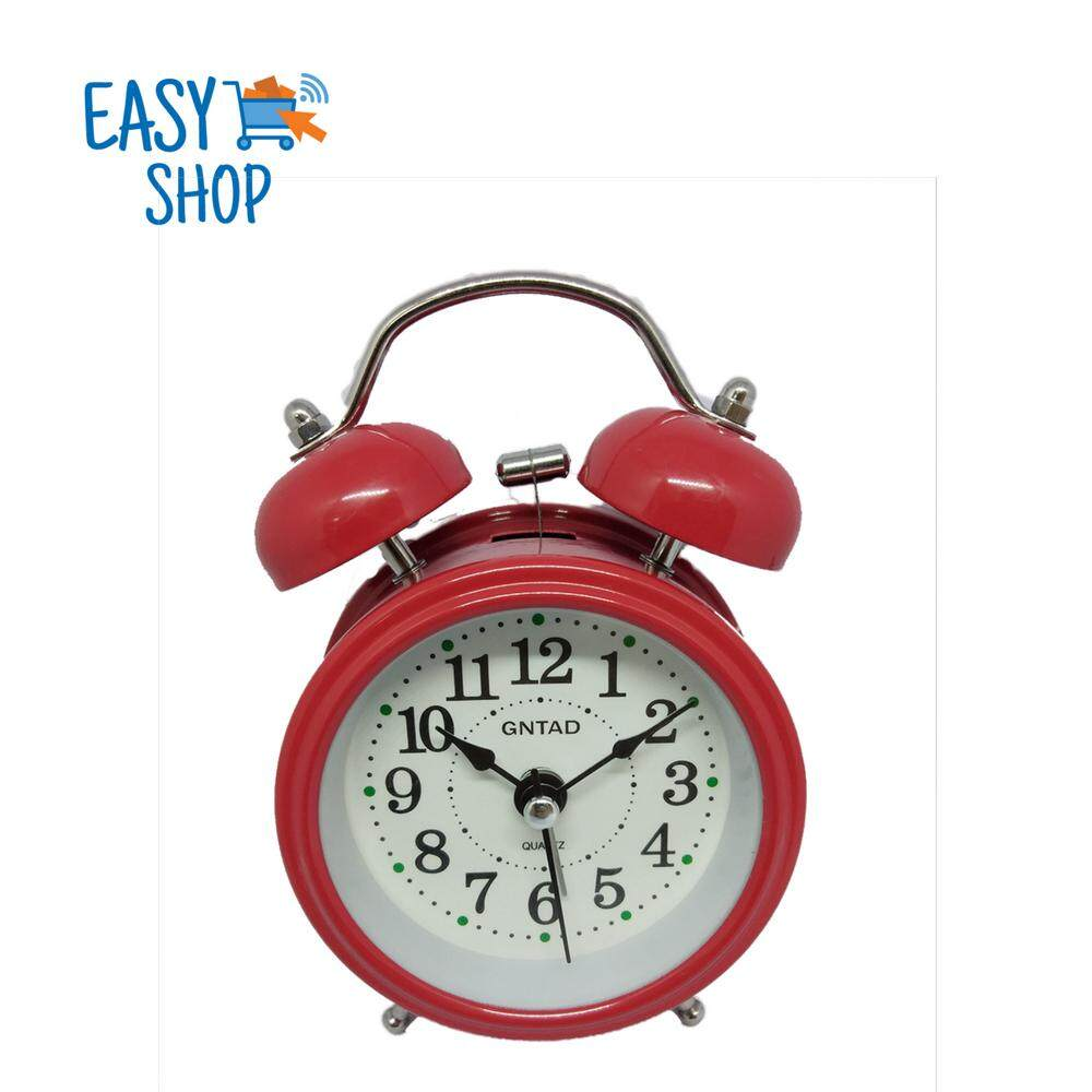 "3"" Analog Twin Bell Ringing Alarm Clock with Nightlight (Free Battery)"