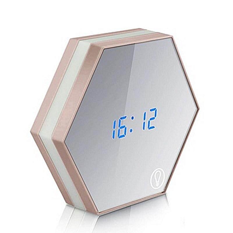 New Electronic Multifunction LED Night Light Wall Clock Mirror Digital Display Alarm Clock Snooze Light-emitting Thermometer gold Free Shipping