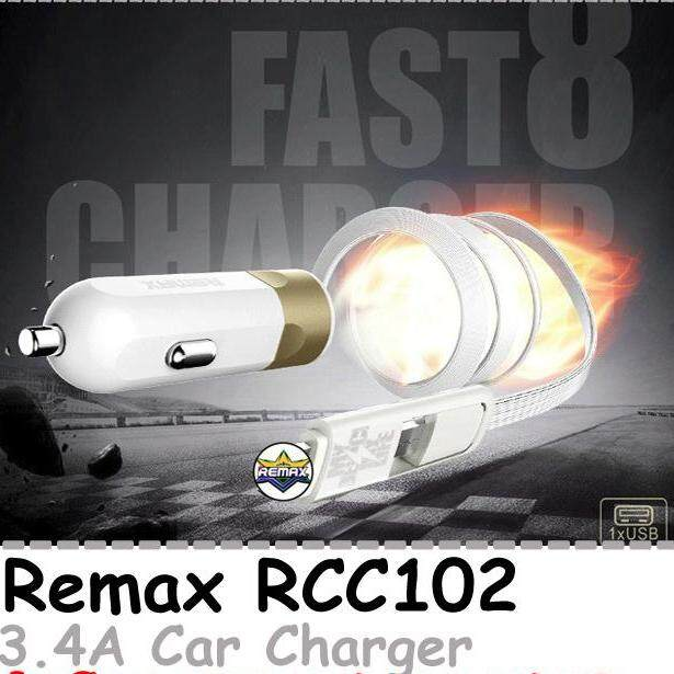 Remax RCC102 Fast 8 3.4A With 2 In 1 Cable Car Charger Micro USB, Lightning, 1 USB