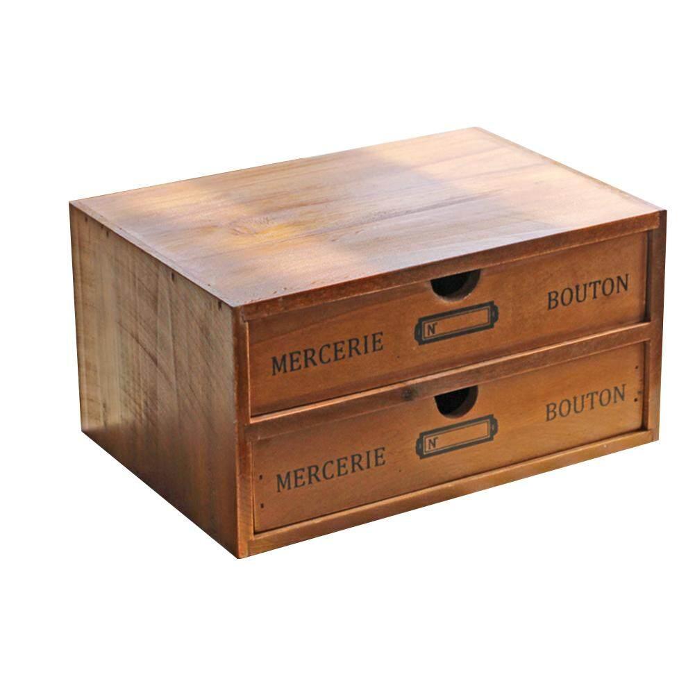 KEJARYWooden Drawer Type Desktop  Storage Box  Chic French Decoration