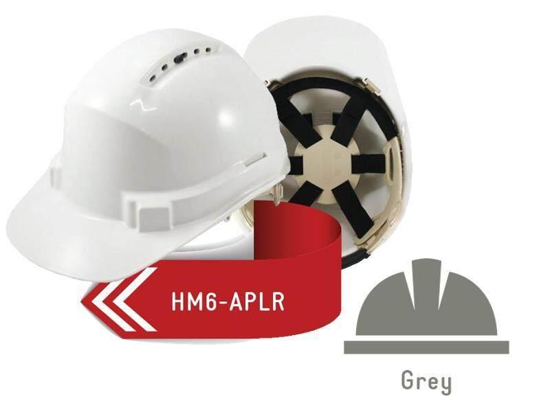 ISAF Industrial Safety Helmet c/w Ratchet Lock, Sweatband & Chinstrap - Grey