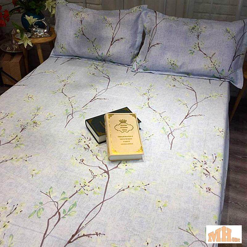 Maylee High Quality Cotton 3pcs Queen Fitted Bedding Set 450TC White Tree