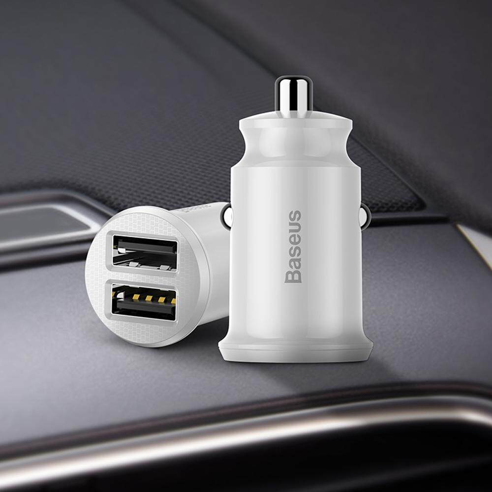 Baseus Mini Usb Car Charger For Mobile Phone Tablet Gps 3.1a Fast Charger Car-Charger Dual Usb Car Phone Charger Adapter In Car By Sea Center.