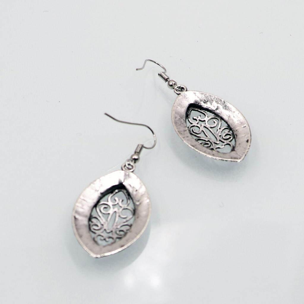GuangquanStrade Vintage Bohemian Women Antique Silver Hollow Flowers Hook Dangle Earrings