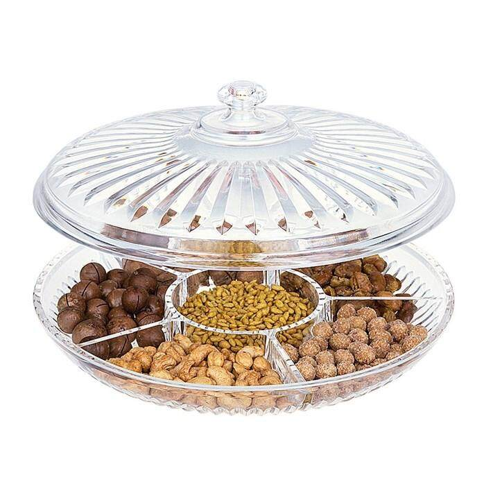 Snack Bowls Creative Acrylic Multi Sectional Snack Serving Tray Set with Lid (Six Sections)