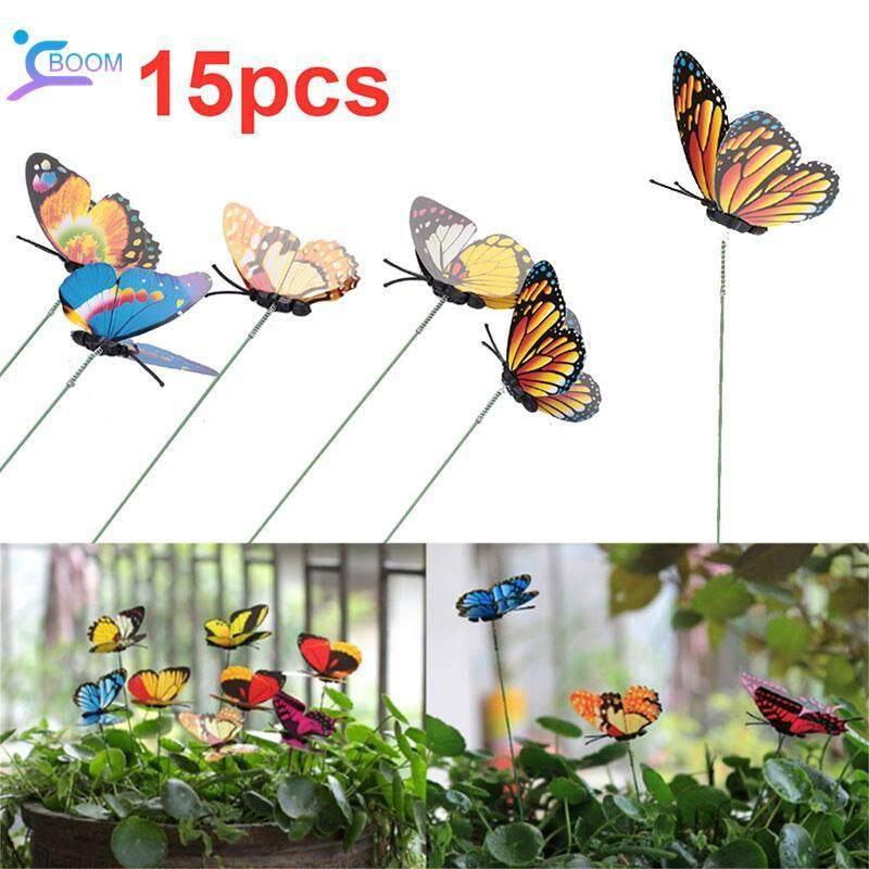 BOOM Butterfly Garden Decor Lawn Decoration Creative 15PCS Color Random Plastic