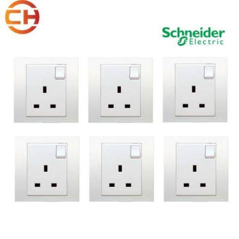 6 pcs - Schneider Vivace 13A Switch Socket (White)