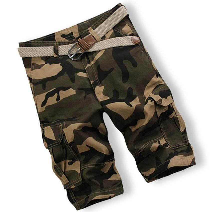 Pria Camo Tengah Celana Kasual Olahraga Longgar Lima Celana Kamuflase Celana Panjang Taktis Celana Tentara Tengah